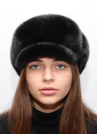 Женская норковая цельная кепка