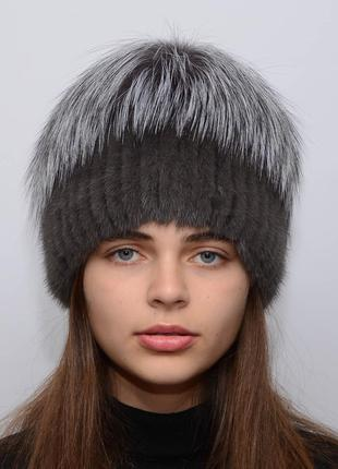 Женская вязанная норковая шапка звёздочка графит