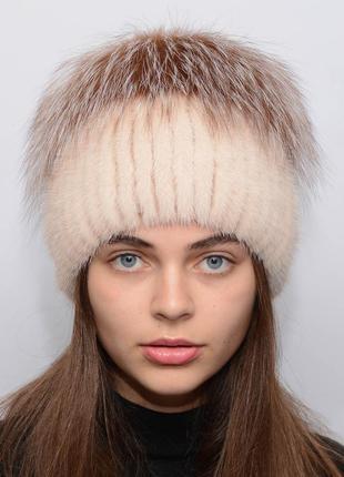 Женская вязанная норковая шапка звёздочка жемчуг