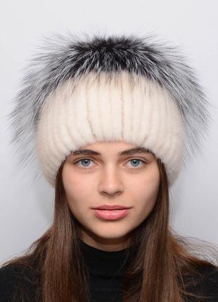 Женская вязанная норковая шапка звёздочка перл