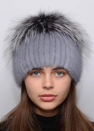 Женская вязаная норковая шапка звёздочка сапфир