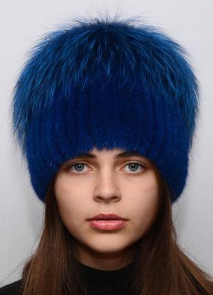 Женская вязаная норковая шапка звёздочка синий