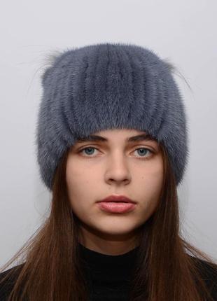 Женская вязаная норковая шапка веер синий ирис