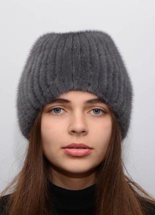 Женская вязанная норковая шапка шарик хвост ирис