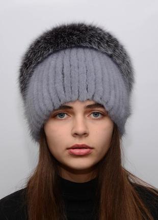 Женская вязаная норковая шапка калачик с песцом сапфир