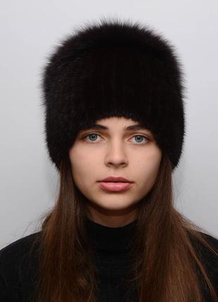 Женская вязаная норковая шапка калачик с песцом браун