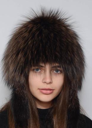 Женская зимняя меховая шапка снопик-ушки (парик)