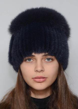 Женская зимняя норковая шапка спираль тёмно синий
