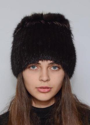 Женская зимняя норковая шапка петли браун