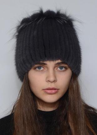 Женская зимняя норковая шапка петли ирис
