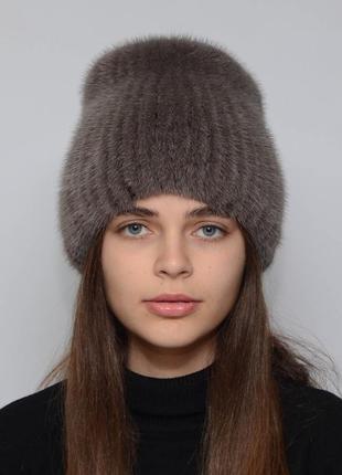 Женская зимняя норковая шапка кубанка хвостик светлый кофе