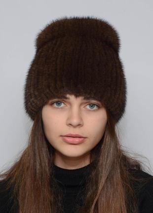 Женская зимняя норковая шапка кубанка хвостик орех