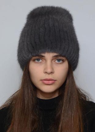 Женская зимняя норковая шапка кубанка хвостик ирис