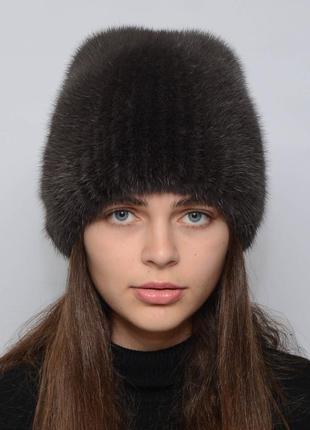 Женская зимняя норковая шапка кубанка хвостик кофе