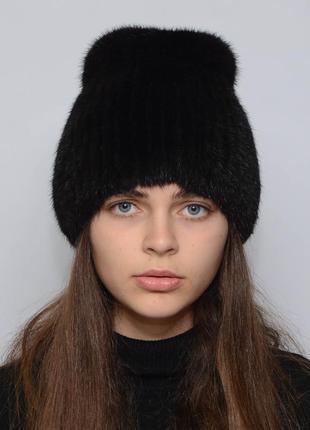 Женская зимняя норковая шапка кубанка хвостик черный