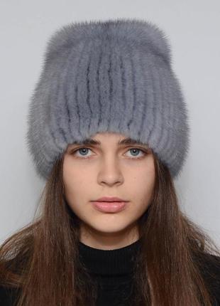 Женская зимняя норковая шапка кубанка хвостик сапфир