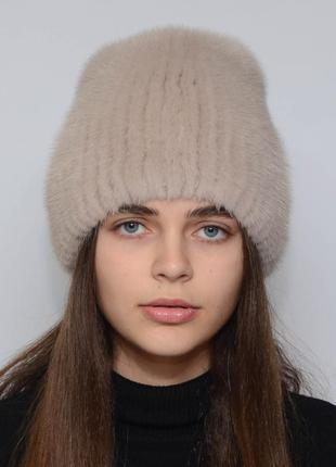Женская зимняя норковая шапка кубанка хвостик какао