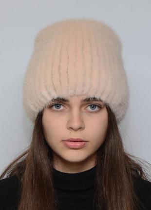 Женская зимняя норковая шапка кубанка хвостик жемчуг