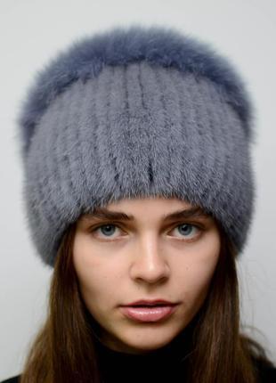 Женская зимняя вязанная норковая шапка стрекоза джиес
