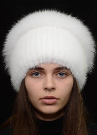 Женская зимняя вязаная норковая шапка стрекоза белый