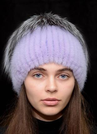 Женская зимняя вязанная норковая шапка стрекоза сирень