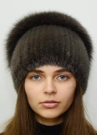 Женская зимняя вязанная норковая шапка стрекоза кофе