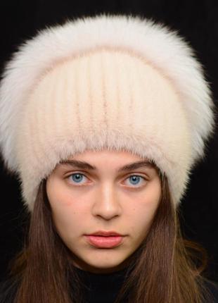 Женская зимняя вязанная норковая шапка стрекоза пудра