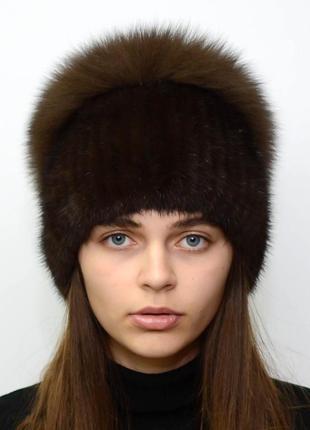Женская зимняя вязанная норковая шапка стрекоза орех