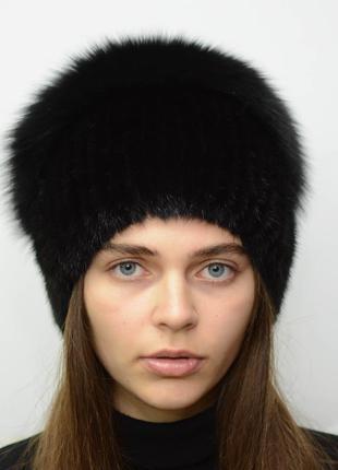 Женская зимняя вязанная норковая шапка стрекоза черный