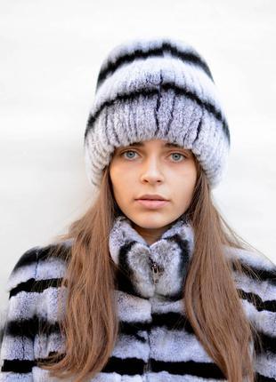 Женская зимняя меховая шапка из кролика кубанка хвост