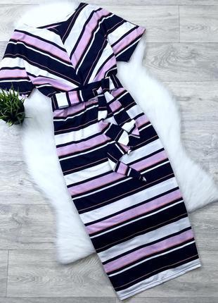 Платье миди в полоску с поясом