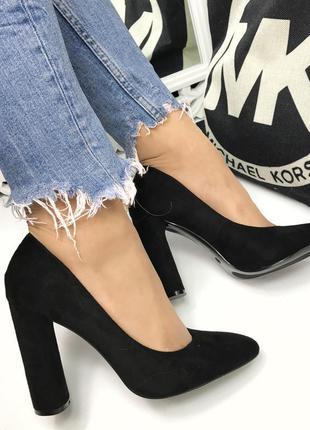 Замшевые натуральные туфли на толстом каблуке kookai кожаные