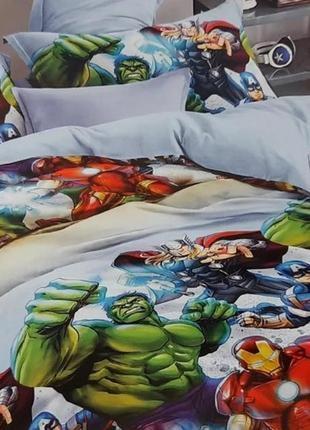 """Детский полуторный комплект постельного белья""""супер герои"""""""