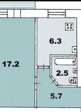 1 комнатная квартира на Заболотного