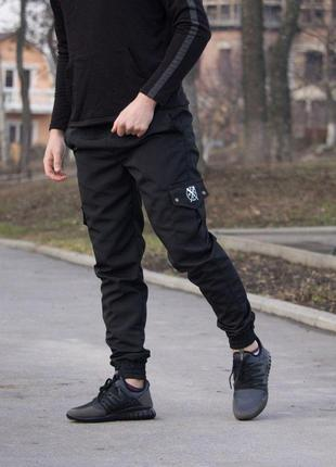 Черные штаны с карманами cargo rextim