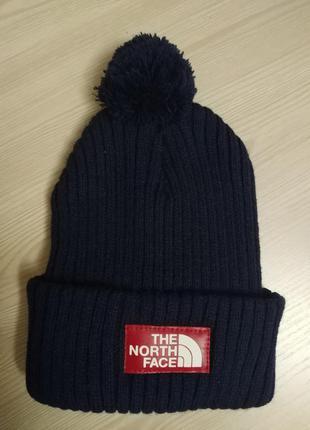 Зимняя мужская шапка с бубоном темно синяя