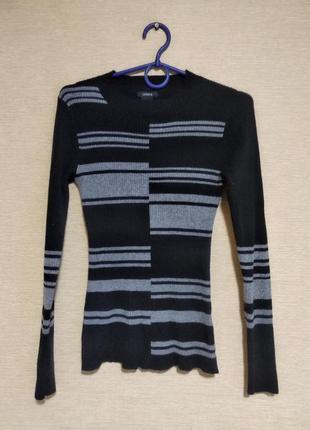 Черно-серый гольф свитер водолазка кофта в рубчик