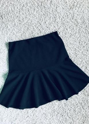 Юбка юбочка годе чёрного цвета в рубчик