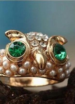 🏵красивое кольцо с бусинками и стразами сова, 16,5-17 р., ново...