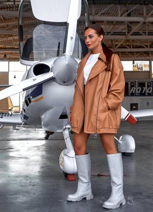 Куртка косуха женская, дизайнерская, бренд, бежевая, экокожа, ...