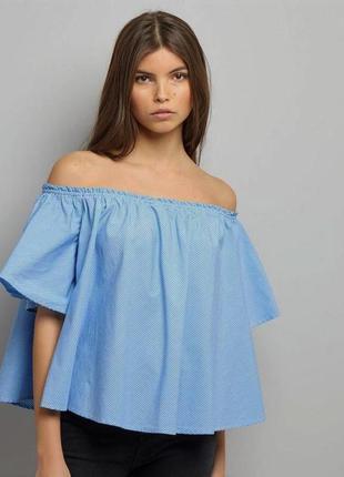 Стильная блуза топ оверсайз в полоску с открытыми плечами от n...