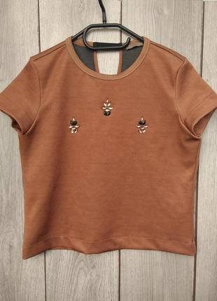 🔥акция 3=5🔥 zara блузка футболка шикарная нарядная с камнями s...