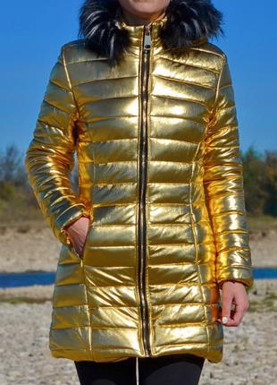 Модне золотисте пальто куртка boohoo 💠 знижка!!!