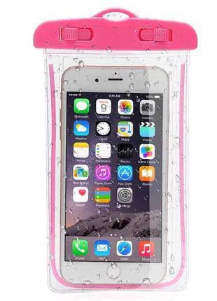 Водонепроницаемый чехол для телефона с светящимся ободком розовый