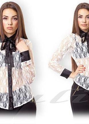Нежная блузка из гепюра и атласа