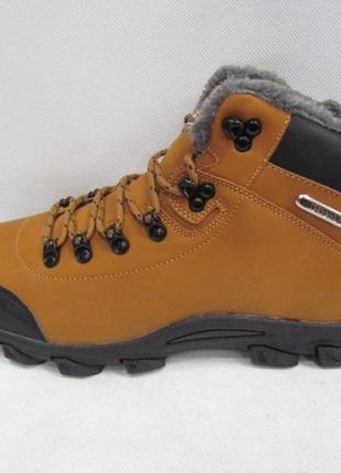 Мужские зимние рыжие горчичные ботинки на шнурках