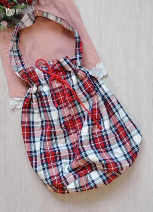 Стильная клетчатая сумка-шоппер мешок ikea