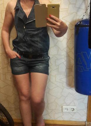Классный летний джинсовый комбез