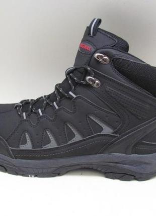 Зимние черные мужские ботинки на шнурках