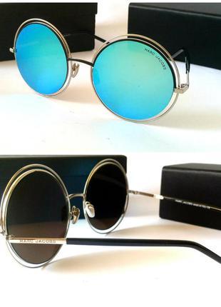 Женские стильные круглые солнцезащитные очки зеркальные голубые